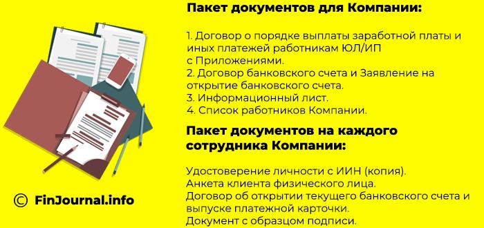 Список документов необходимых для оформления зарплатного проекта в АТФ Банке
