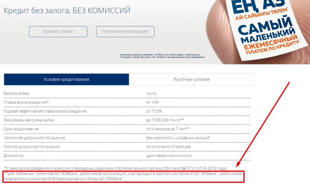 Кредит в АТФ Банке Казахстана физическим лицам